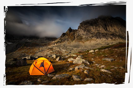 Tent on a rocky hill