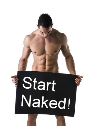 Naked man with sign